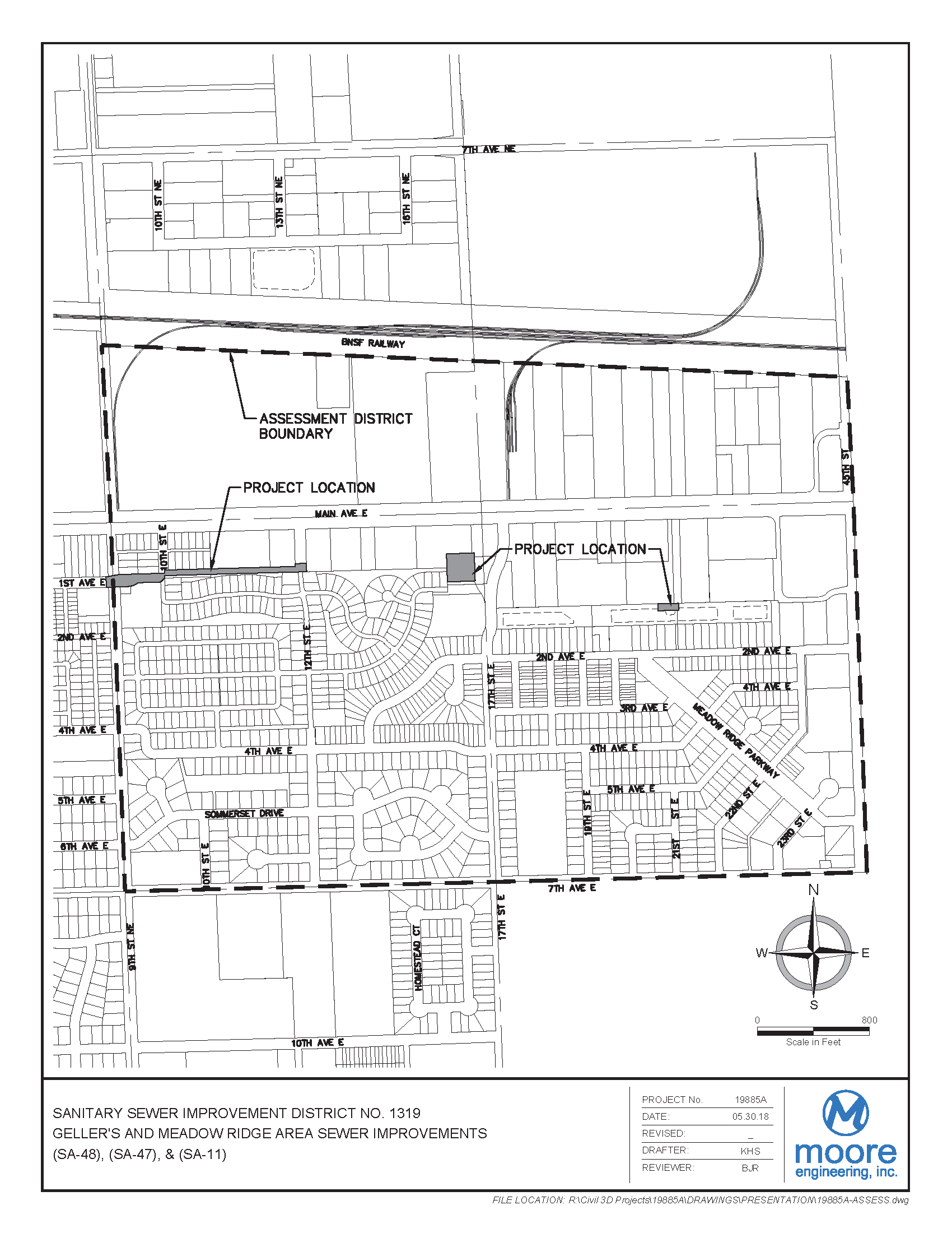 District No. 1319 Geller's and Meadow Ridge Area Sewer Improvements Assessment District Boundary