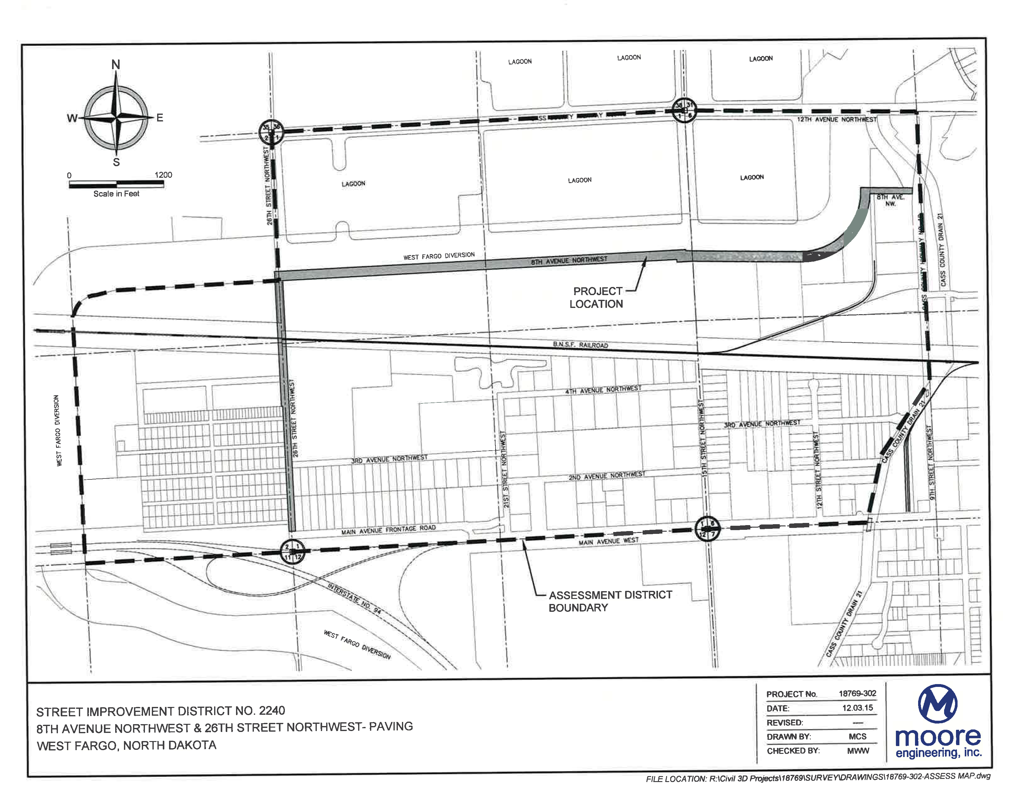 District No. 2240 Eight Avenue NW and 26th Street NW Paving Assessment District Boundary Map