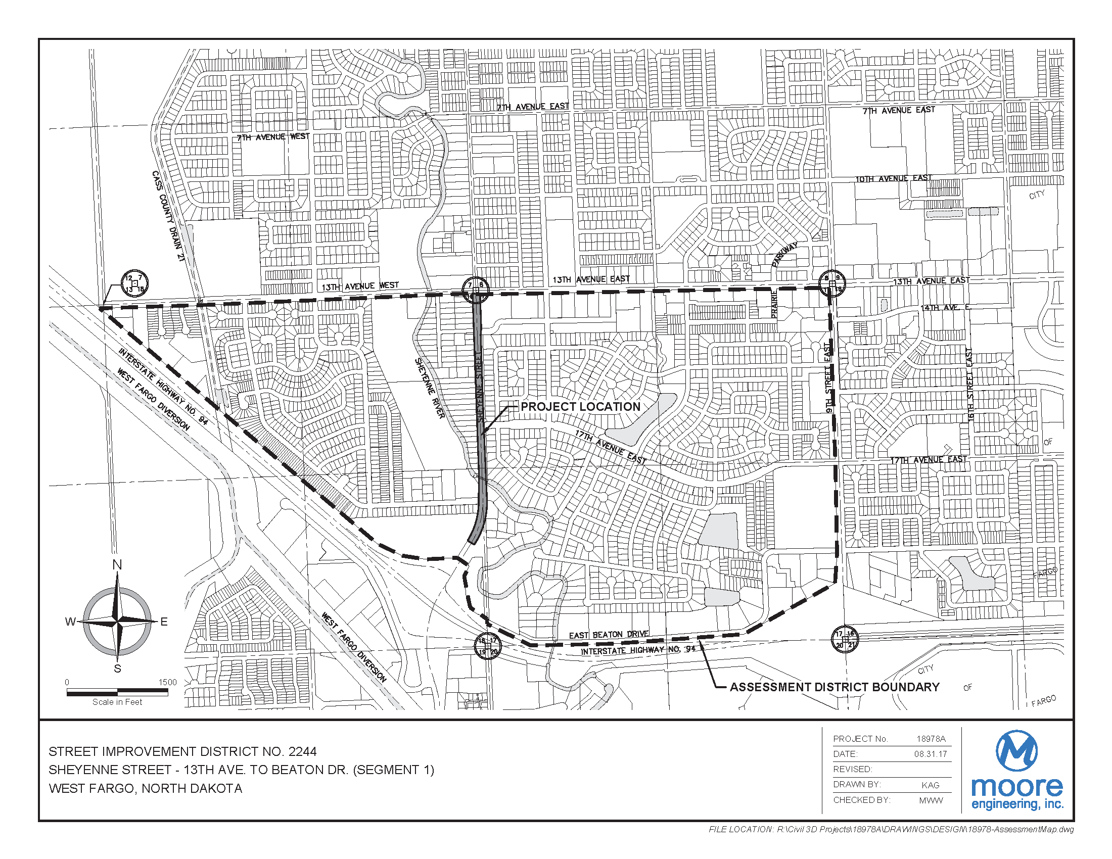 District No. 2244 Sheyenne Street - 13th Avenue W. to Beaton Drive Assessment District Boundary Map